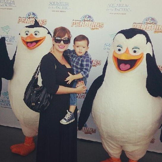 My sister and nephew with the Penguins!