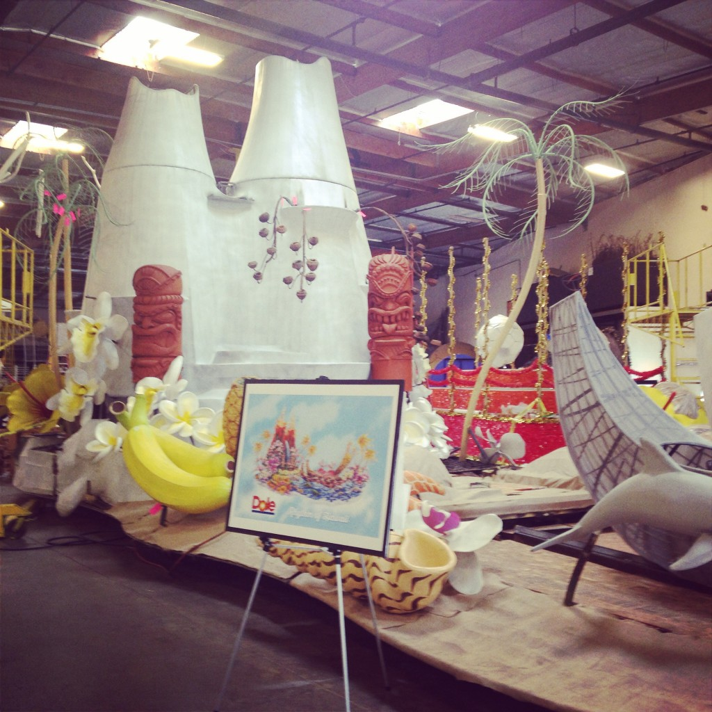 The Dole Rose Parade Float in the making.