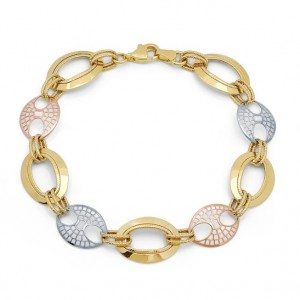 14k Tri Color Gold Filigree Bracelet