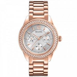 Rose Gold Tone Crystal Bulova Watch