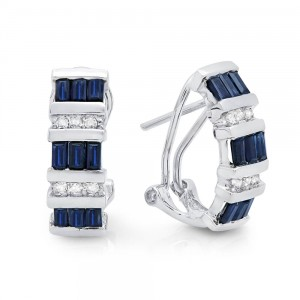 Sapphire and Diamond 14k White Gold Omega Backing Earrings